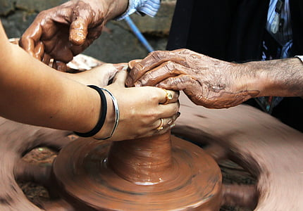 pottery, potter, learning, hands, close, close-up
