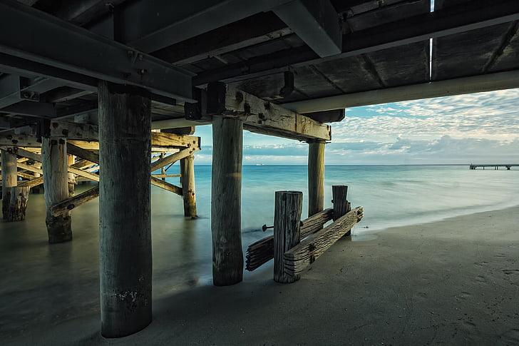 brown wooden dock on beach