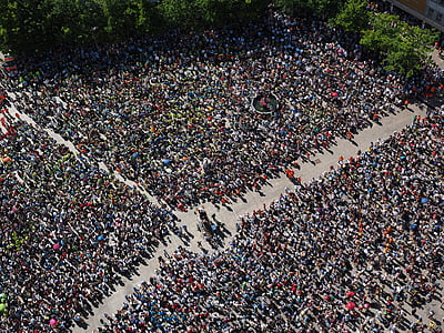 aerial photo of group of people
