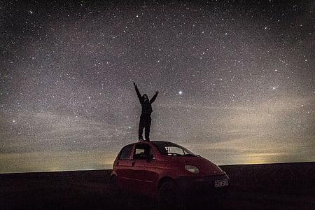boy, stars, car, magic, night, long exposure