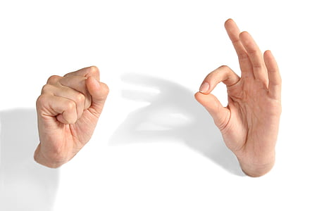 person doing hand gestures