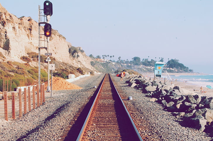 royalty free photo train rail near the shore pickpik