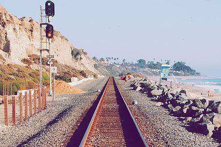 train rail near the shore