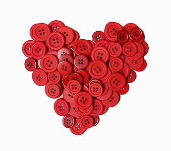 red button heart decor