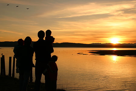 silhouette of family near body of water watching sunset