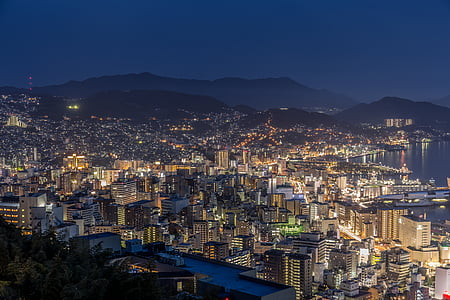 bird's eye view photography of city under nightime