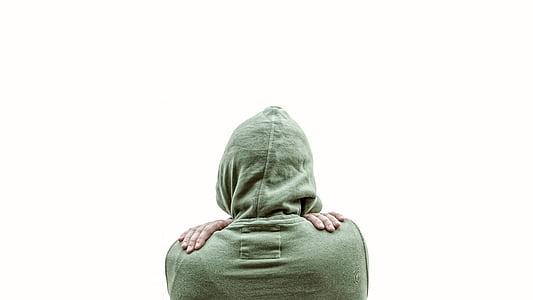 person wearing green hoodie