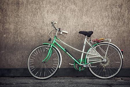 white and green dutch bike