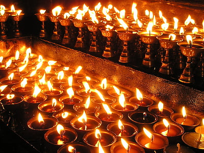 lighted votive candles