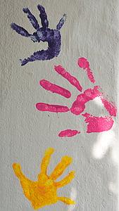 three hand prints on wall