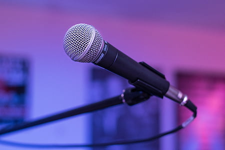 selective focus of a dynamic microphone with stand