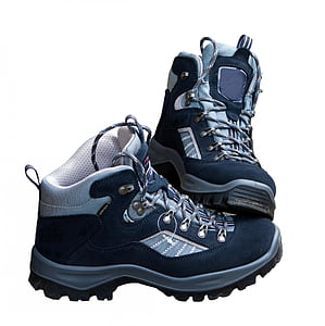 pair of gray-and-black hiking boots