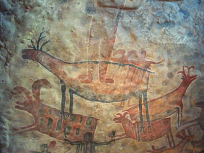 brown cave painting