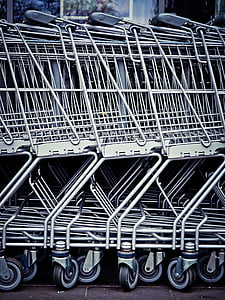 silver shopping cart lot