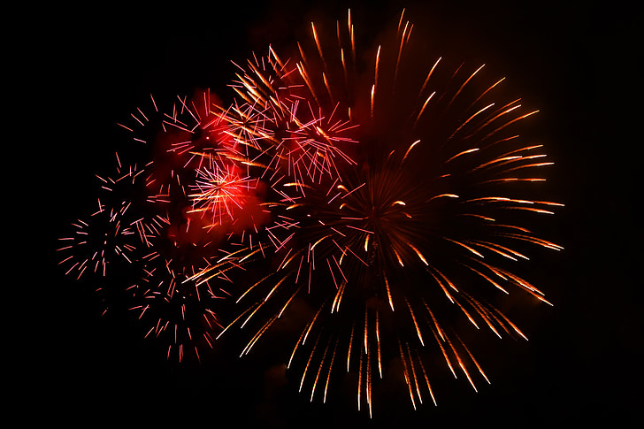 photo of red fireworks