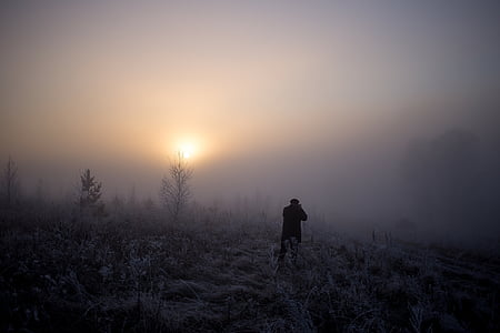 person in area covered in fog during golden hour