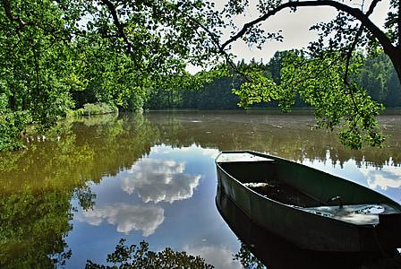 gray boat on body of water near tree