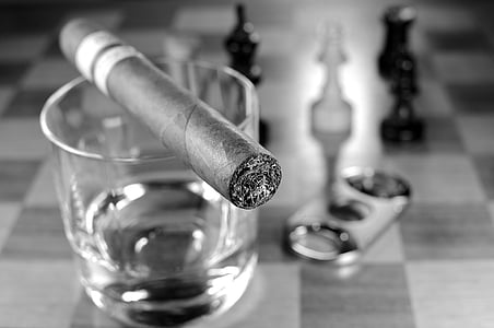 grayscale photo of tobacco and rock glass