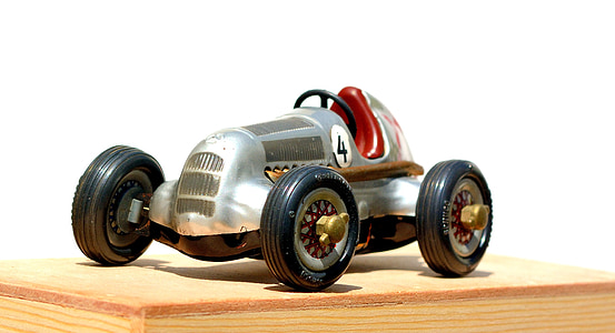 silver F1 car toy