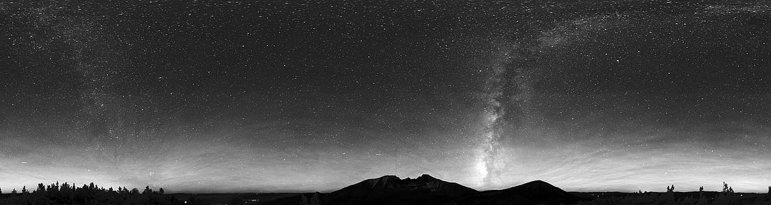 panoramic grayscale photography of milky way galaxy