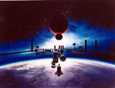space satellite graphic art