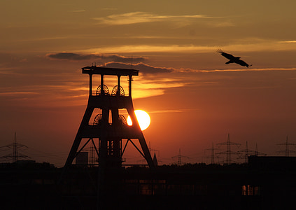 silhouette of mill and eagle gliding