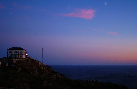 galicia, fisterra, night, moon, lighthouse, cape