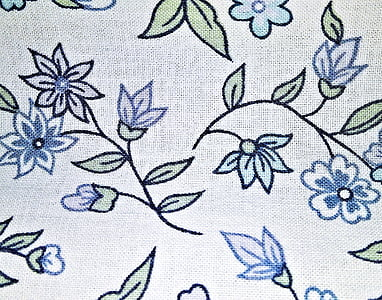 blue and green floral textile