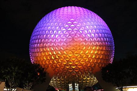 round purple, pink, and orange landmark