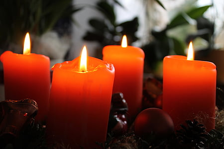 photography of four red candles