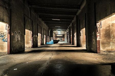 empty brown concrete hallway