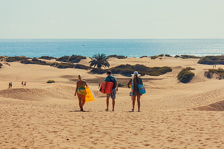three people walking on brown sand near sea at daytime