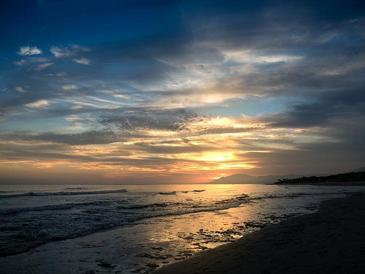 seashore at dusk time