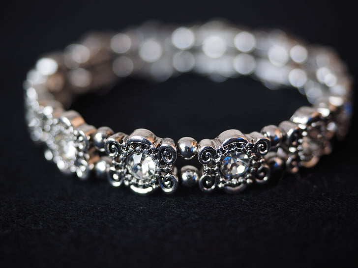 bracelet, bangle, jewellery, silver, diamonds, gems