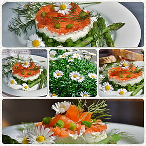 white aster flowers on food top collage