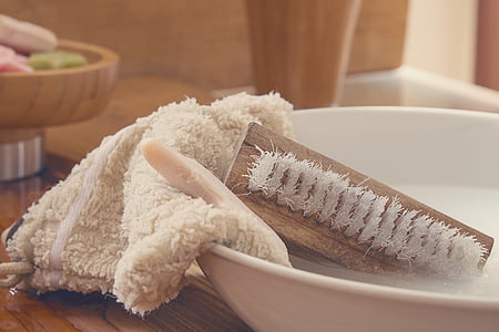 basin of brush and towel