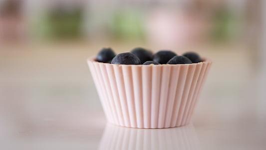 blackberries on cupcake molder