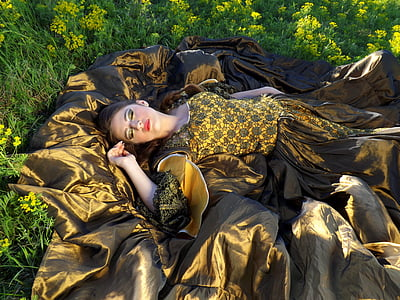 girl, sleep, flowers, yellow, beauty, women