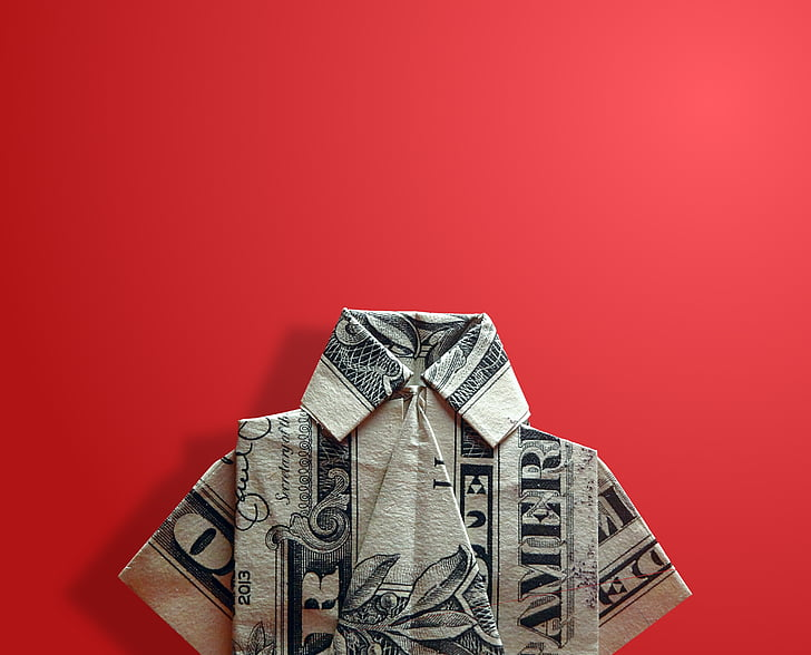 U.S. dollar banknote fold into shirt