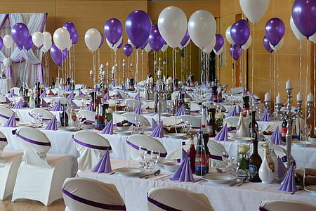 multicolored white-and-purple table-and-chairs
