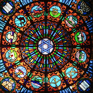 blue, brown, and green stain glass decor