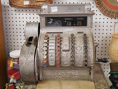 vintage gray and black cash register