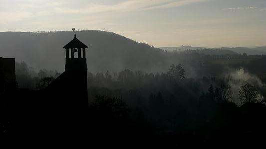 silhouette of castle near mountain