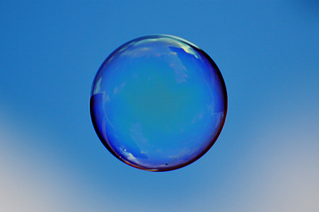 photography of blue bubble