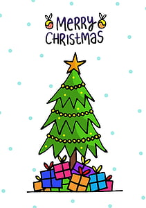 Christmas tree and gifts illustration