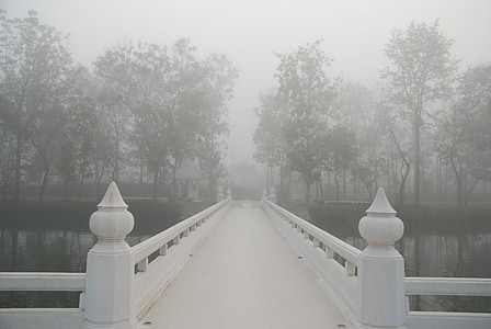 white concrete bridge pathway