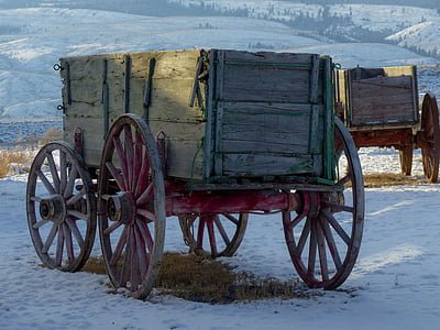 brown wooden horse carriage on ice ground