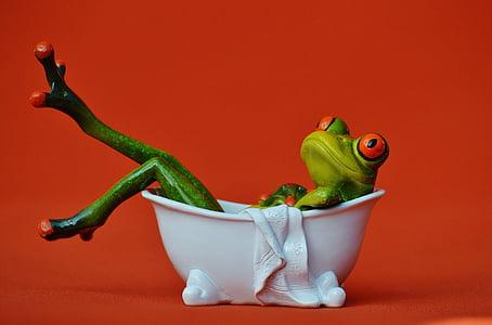 frog in bathtub