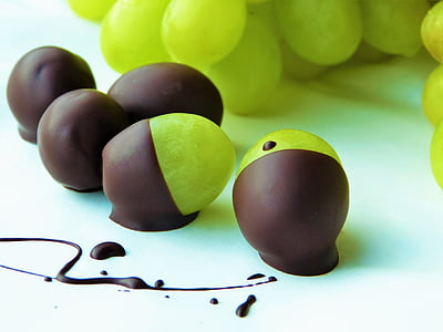 green grape fruits with chocolate coating
