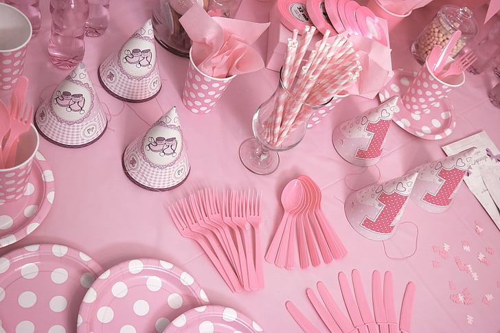 pink and white-themed birthday decor set